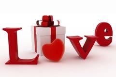 Il contenitore, il cuore e l'iscrizione bianchi di regalo amano Fotografia Stock Libera da Diritti