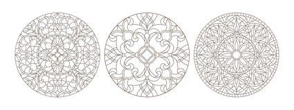 Il contorno ha messo con le illustrazioni di vetro macchiato, vetro macchiato rotondo floreale, profilo scuro su un fondo bianco royalty illustrazione gratis