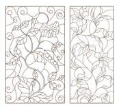 Il contorno ha messo con le illustrazioni di vetro macchiato con le viti ed i fiori, contorno nero su fondo bianco Fotografia Stock