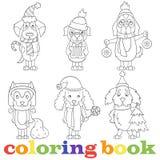 Il contorno ha messo con le illustrazioni con i cani divertenti del fumetto sull'argomento del nuovo anno e del Natale, coloritur royalty illustrazione gratis