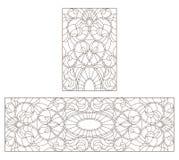 Il contorno ha messo con le illustrazioni con i fiori simmetrici astratti, contorni scuri su fondo bianco Fotografie Stock Libere da Diritti