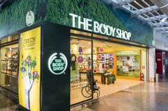 Il contrassegno di Body Shop Fotografia Stock