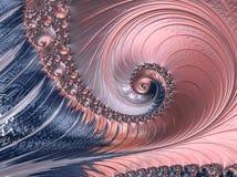 Il corallo astratto ed il frattale a spirale strutturato blu, 3d rendono per il manifesto, la progettazione e lo spettacolo Fondo illustrazione vettoriale