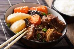 Il Coreano ha brasato le costole di scarsità del manzo con il primo piano di contorno del riso Horiz Fotografia Stock Libera da Diritti