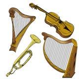 Il corno di musica ha impostato 3 royalty illustrazione gratis