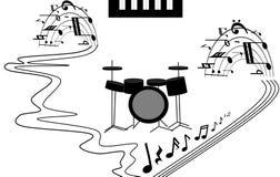 Il corno di musica ha impostato 3 Un vulcano musicale, una fontana, una cascata nella prestazione di vario musical Immagini Stock Libere da Diritti