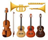Il corno di musica ha impostato 3 Vector la pagina isolata del sito Web di sconto del tubo della chitarra degli oggetti e la prog illustrazione vettoriale