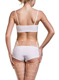 Il corpo della donna esile con le linee di correzione Immagini Stock Libere da Diritti