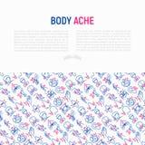 Il corpo fa male concetto con la linea sottile icone illustrazione vettoriale