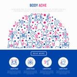 Il corpo fa male concetto nel semicerchio royalty illustrazione gratis