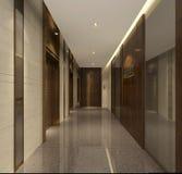 Il corridoio dell'appartamento senior della decorazione primitiva di semplicità a Shanghai Fotografia Stock Libera da Diritti