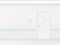 Il corridoio dell'ospedale con il modello della parete in bianco e la porta, 3d rende Fotografia Stock
