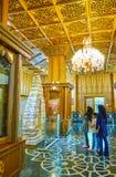 Il corridoio di legno del museo di Malek, quarto di Bagh-e Melli, Teheran, Iran fotografia stock