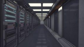 Il corridoio futuristico e rende i computer royalty illustrazione gratis