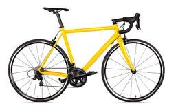 Il corridore di corsa nero giallo della bicicletta della bici della strada di sport ha isolato fotografia stock