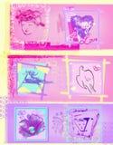 Il corridore rosa per le reti sociali per le donne progetta gli elementi ama i cuori illustrazione vettoriale