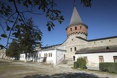Il cortile e la torre interni di Kamianets-Podilskyi fortificano in Ucraina occidentale Fotografia Stock
