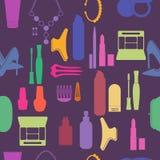 Il cosmetico, compone ed icone e fondo di bellezza Fotografia Stock
