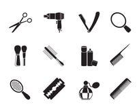Il cosmetico della siluetta, compongono e le icone di lavoro di parrucchiere illustrazione vettoriale