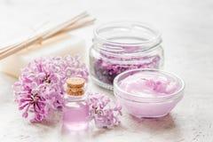 Il cosmetico della stazione termale ha messo con il fondo di pietra dello scrittorio dei fiori del lillà Fotografie Stock Libere da Diritti