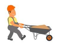 Il costruttore con il carrello sta andando al progetto Immagini Stock Libere da Diritti