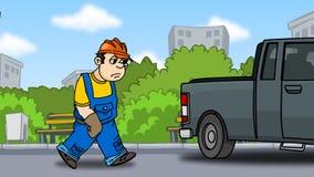 Il costruttore stanco va all'automobile Fotografie Stock