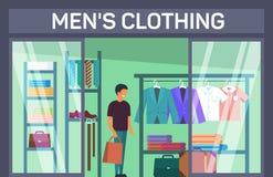 Il costume con la borsa a uomo il negozio dell'abbigliamento royalty illustrazione gratis