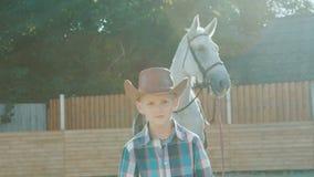 Il cowboy alla moda cammina alla macchina fotografica, mani degli incroci vicino al cavallo su luce solare lentamente archivi video