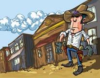 Il cowboy del fumetto lancia un'ombra Fotografia Stock