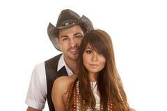 Il cowboy e le teste indiane della donna si chiudono Fotografie Stock