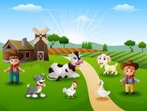Il cowboy ed il cowgirl all'azienda agricola con gli animali sulla mattina illustrazione di stock