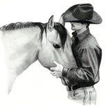 Il cowboy ed il suo cavallo Fotografie Stock