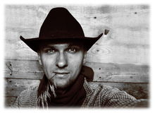 Il cowboy ha fatto un selfie prima che diventasse d'avanguardia Immagine Stock Libera da Diritti