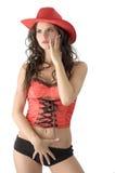 Il cowgirl rosso Immagini Stock Libere da Diritti