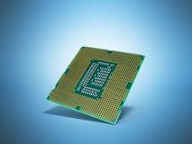 Il CPU 3d di alta risoluzione delle unità di elaborazione del computer centrale rende su blu Fotografia Stock