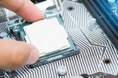 Il CPU di Installing dell'ingegnere in scheda madre del computer dell'incavo Fotografie Stock Libere da Diritti