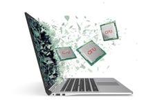 Il CPU vola fuori dal computer portatile che fracassa il vetro nei pezzi illustrazione 3D Fotografie Stock Libere da Diritti