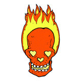 il cranio ardente del fumetto comico con il cuore di amore osserva Fotografia Stock