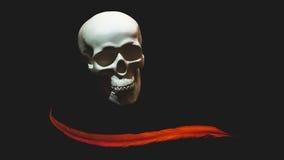 Il cranio bianco è decorato con le piume rosse Fotografie Stock Libere da Diritti