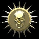 Il cranio brillante del metallo dell'oro sulla piastrina dorata opaca con le punte intorno, il nero isolato, rapina la cresta ren Immagini Stock
