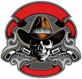 Il cranio d'annata di stile con il cappello da cowboy, ha attraversato le pistole e le insegne, progettazione di logo del cranio  illustrazione di stock