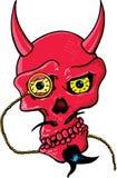 Il cranio del diavolo con i corni e l'occhio di vetro collegano Fotografia Stock