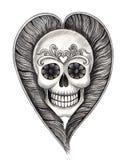 Il cranio di arte traversa il tatuaggio volando del cuore Fotografia Stock Libera da Diritti