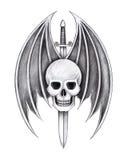 Il cranio di arte traversa il tatuaggio volando della spada del diavolo Fotografie Stock Libere da Diritti