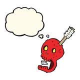 il cranio e la freccia divertenti del fumetto con pensiero bollono Fotografia Stock