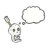 il cranio e la freccia divertenti del fumetto con pensiero bollono Immagini Stock