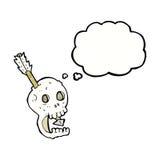 il cranio e la freccia divertenti del fumetto con pensiero bollono Immagini Stock Libere da Diritti