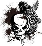 Il cranio e una carpa e una pittura Immagine Stock