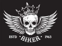 Il cranio umano con le ali e la corona per il tatuaggio progettano illustrazione di stock