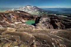 Il cratere del vulcano di Gorely, Kamchatka Fotografia Stock Libera da Diritti